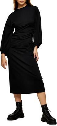 Topshop Editor Side Tie Long Sleeve Midi Dress