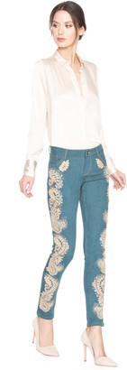 Alice + Olivia JANE EMBELLISHED 5 POCKET SKINNY JEAN