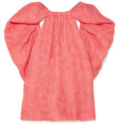 Rosie Assoulin Cape-effect Silk-jacquard Top - Coral