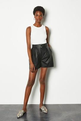 Karen Millen Leather Belted Shorts