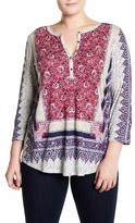 Lucky Brand Border Floral Henley Tunic (Plus Size)
