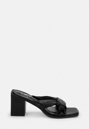 Missguided Black Knotted Block Heeled Sandals