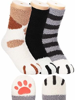 Satinior Cat Claw Socks with Non-Slip Toes Warm Cat Socks Cat Cozy Fluffy Slipper Socks for Women (Black