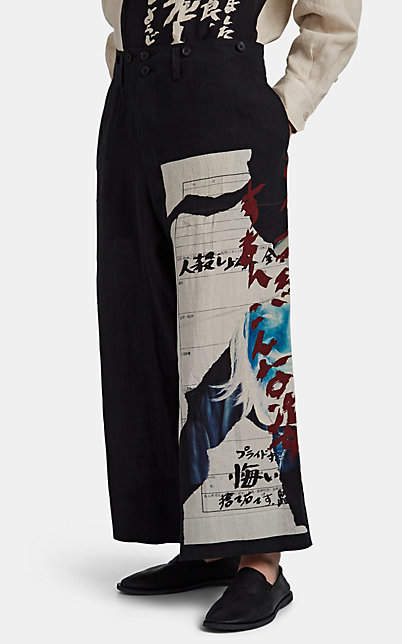 Yohji Yamamoto Men's Graphic Linen Oversized Trousers - Nudeflesh