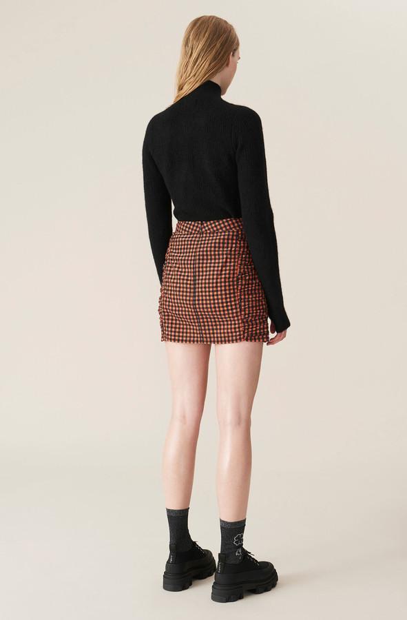 Thumbnail for your product : Ganni Seersucker Check Mini Skirt