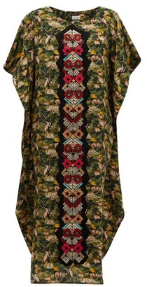 CHUFY Embroidered Oryx-print Twill Kaftan - Green Multi