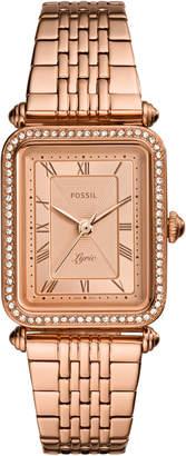 Fossil Women Lyric Rose Gold-Tone Stainless Steel Bracelet Watch 23x28mm
