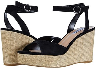 Steve Madden Binx Wedge Sandal (Black Suede) Women's Shoes