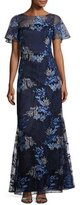 David Meister Short-Sleeve Embroidered Tulle Gown, Blue/Gray