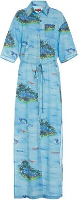 STAUD Cameron Printed Rayon Shirt Dress