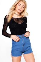 Boohoo Ashley Super High Waist Denim Shorts