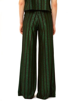 MC2 Saint Barth Black And Green Glitter Striped Palazzo Pants