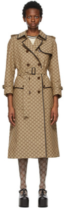 Gucci Beige and Brown GG Supreme Trench Coat