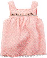 Carter's Embroidered Orange Print Tank Top - Preschool Girls 4-7