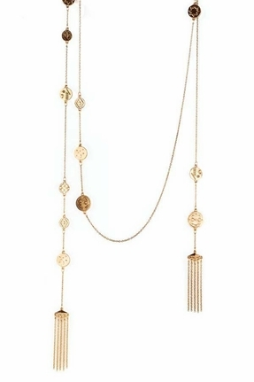 House Of Harlow Tassel Coin Necklace in Gold