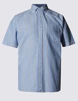 Blue Harbour Pure Cotton Seersucker Striped Shirt