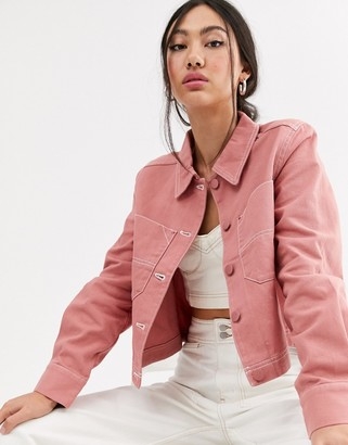 Monki utility button up jacket in pink