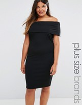 Club L Plus Bardot Midi Dress In Rib