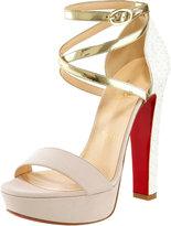 Christian Louboutin Summerissima Crisscross Platform Red Sole Sandal, Gold/White