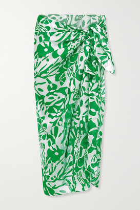 Eres Blackfish Printed Cotton-voile Pareo - Green