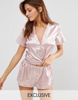 Wolfwhistle Wolf & Whistle Pink Satin Short Pajama Set