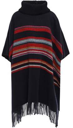 Tory Burch Ainsley Fringed Striped Brushed Wool Poncho