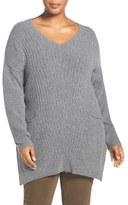 Plus Size Women's Caslon Mixed Stitch V-Neck Tunic Sweater