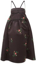 Rochas Rose-print Duchess-satin Midi Dress - Womens - Black Print