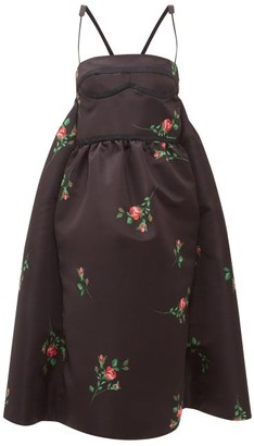 Rochas Rose-print Duchess-satin Midi Dress - Womens - Black Print