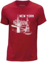STUFF4 Men's Round Neck T-Shirt/New York Landmark Sketch