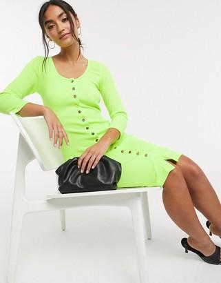 Liquorish button front dress in neon green