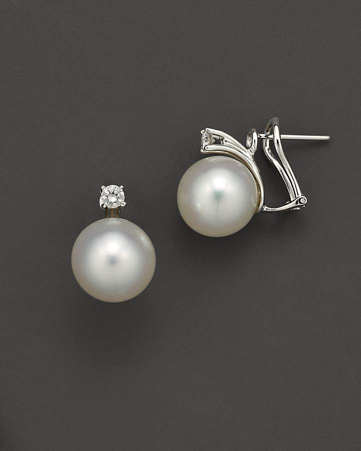 Bloomingdale's Cultured White South Sea Pearl Stud Earrings with Diamonds in 14K White Gold, 10mm
