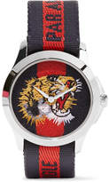 Gucci Striped Canvas And Stainless Steel Watch - Silver