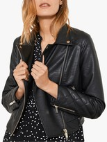Mint Velvet Faux Leather Biker Jacket, Black