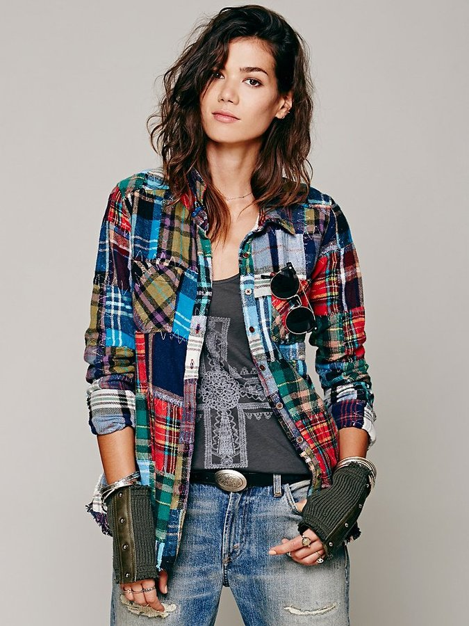 Free People Patched Plaid Buttondown