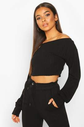 boohoo Extreme Sleeve Off The Shoulder Rib Slouch Crop