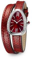 Bvlgari Serpenti Diamond & Red Karung Strap Watch