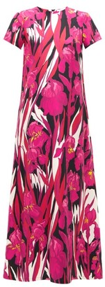 La DoubleJ Swing Peony Floral-print Silk Maxi Dress - Pink Multi