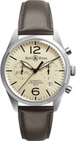 Bell & Ross Vintage original satin steel and leather chronograph watch