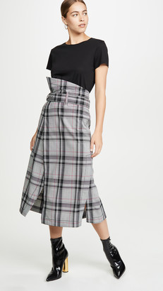 3.1 Phillip Lim Plaid Belted Topstitch Skirt