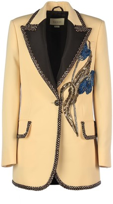 Gucci Chrystal Insert Logo Button And Floral Decoration Jkt/ Gioiello Rever Lancia