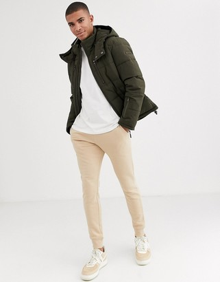Esprit puffer jacket with hood in khaki-Green