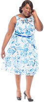 Julian Taylor Womens Plus Size Sleeveless Floral Belted Fit and Flare Dress, 18W