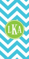 The Well Appointed House Personalized Beach Towel with Blue Chevron Pattern