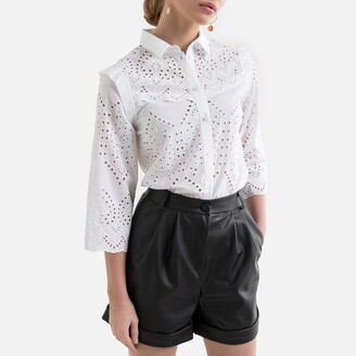 Pieces Broderie Anglaise Cotton Blouse in Regular Fit