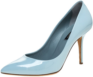 Dolce & Gabbana Blue Patent Leather Pointed Toe Pumps Size 38