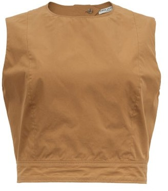 Three Graces London Rosie Cutout-back Cotton-poplin Top - Brown