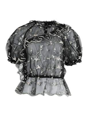 Simone Rocha sheer floral embroidered top