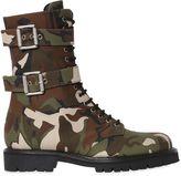 Alexandre Vauthier 20mm Camo Cotton Canvas Combat Boots