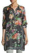 Johnny Was Camilla Long Floral-Print Silk Tunic, Plus Size